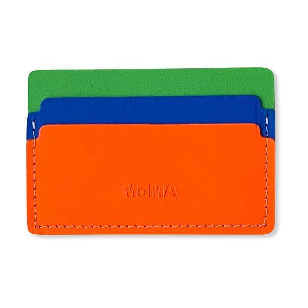 Primary Recycled Leather Cardholder in color Green/ Blue