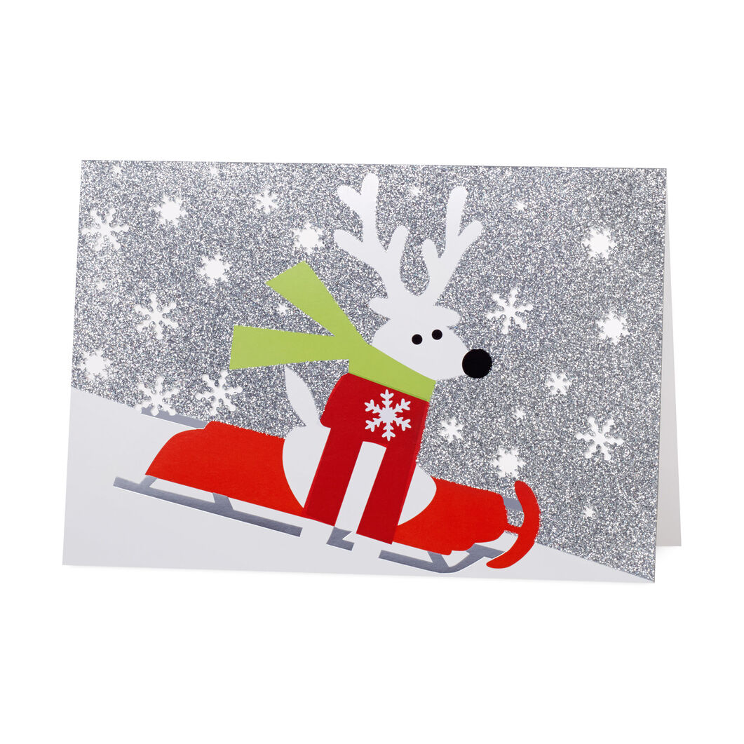 Sledding Reindeer Holiday Cards (Box of 8) in color