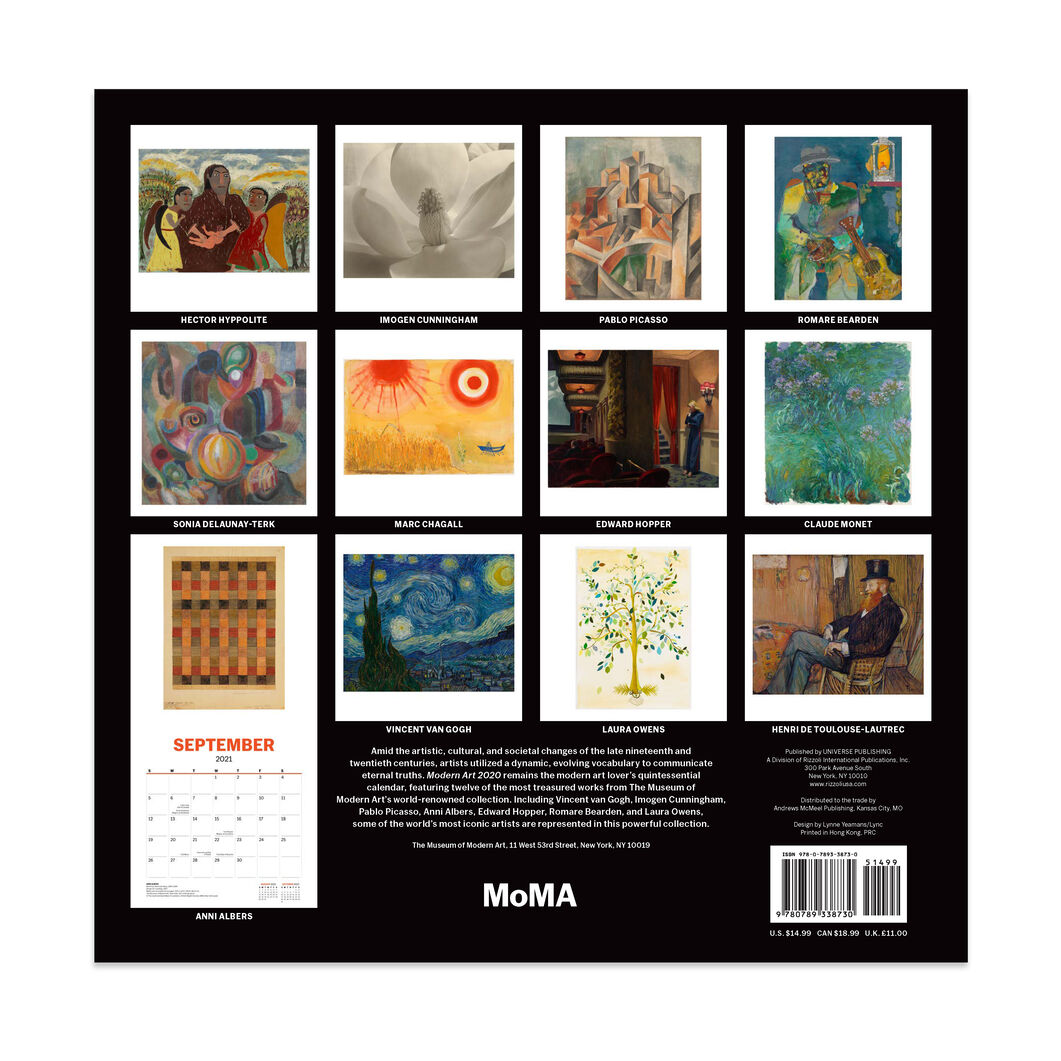 2021 MoMA Modern Art Wall Calendar in color