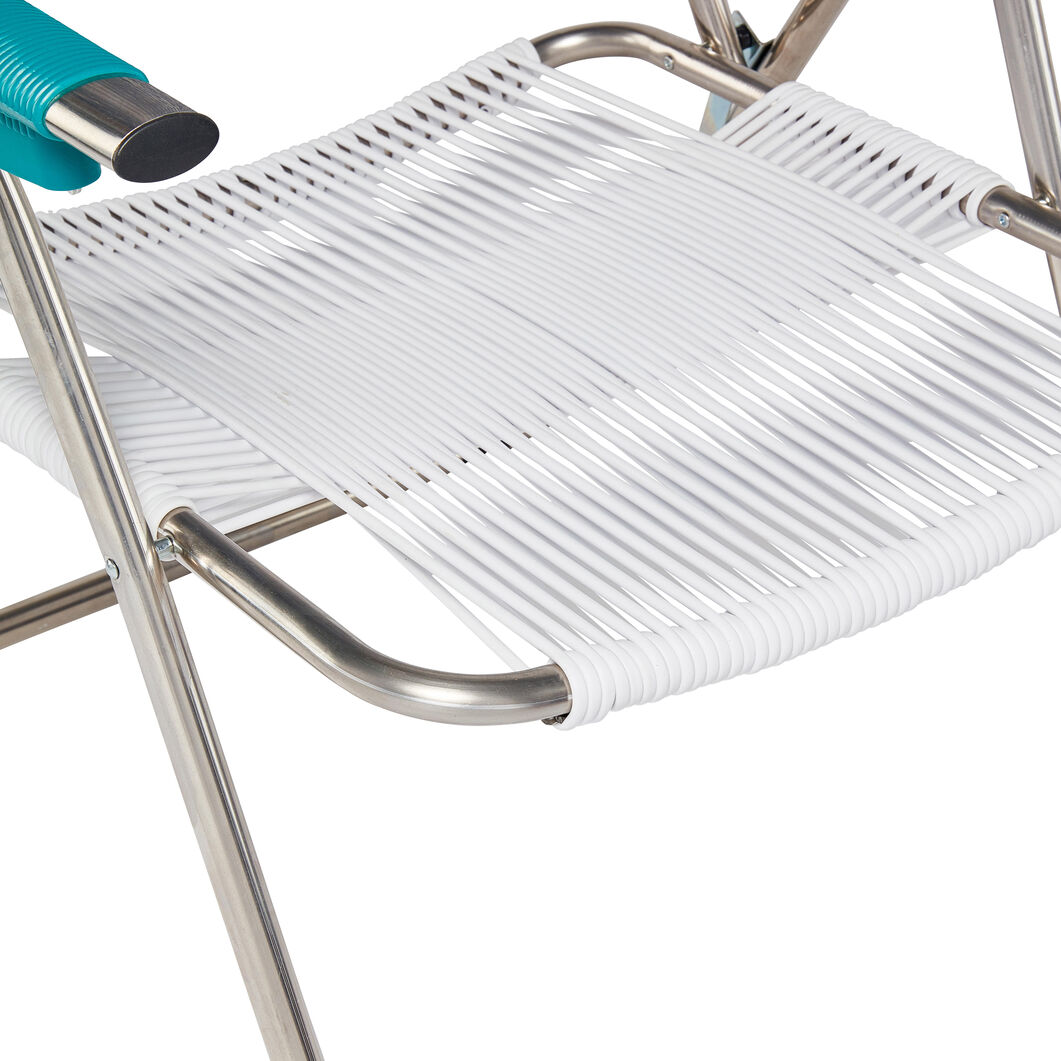 Spaghetti Beach Chair in color Blue/ White/ Turquoise