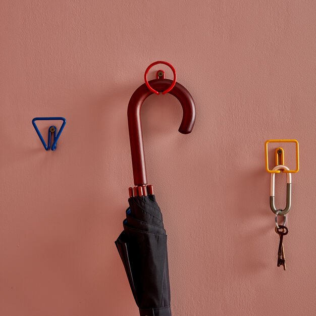 Metal Shape Wall Hook in color Red