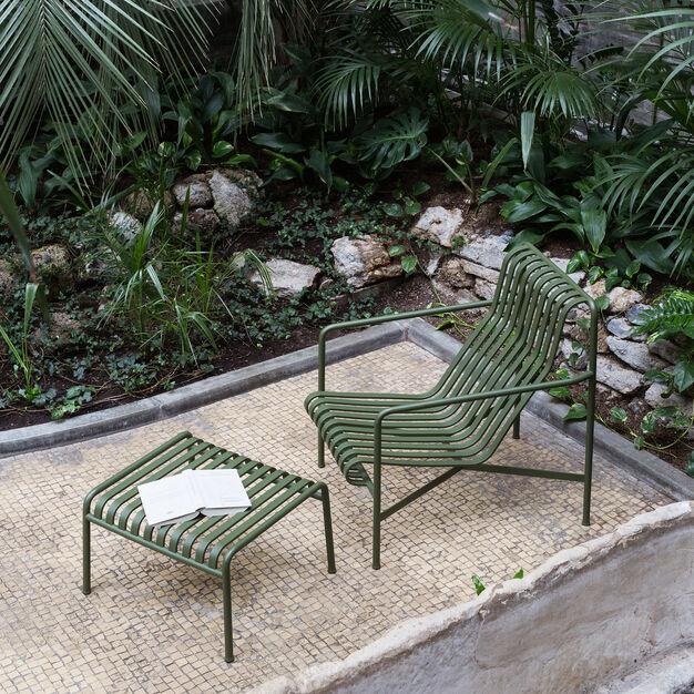 HAY Palissade Outdoor High Lounge Chair in color Olive
