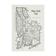 New York Map Print in color