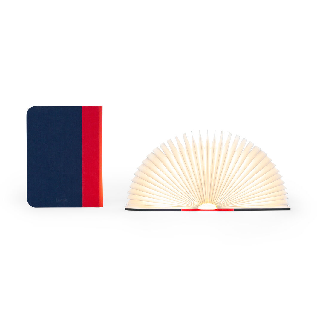 Lumio Book Lamp in color Red/ Navy