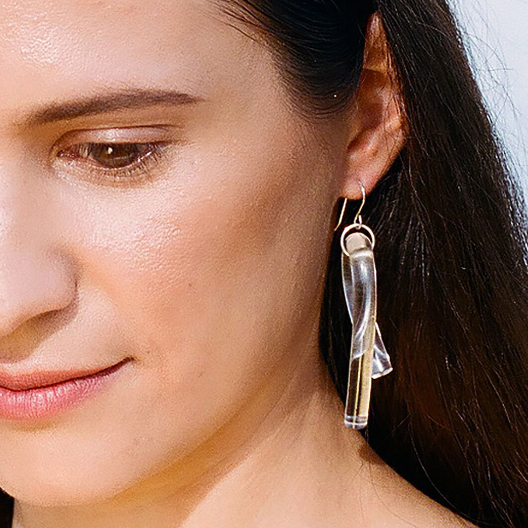 Lucite Loop Earrings in color Clear