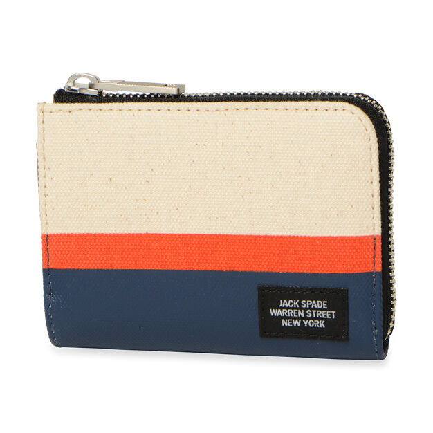 Jack Spade Dipped Coin Wallet - Natural/Orange/Navy, Horizontal Striped in color