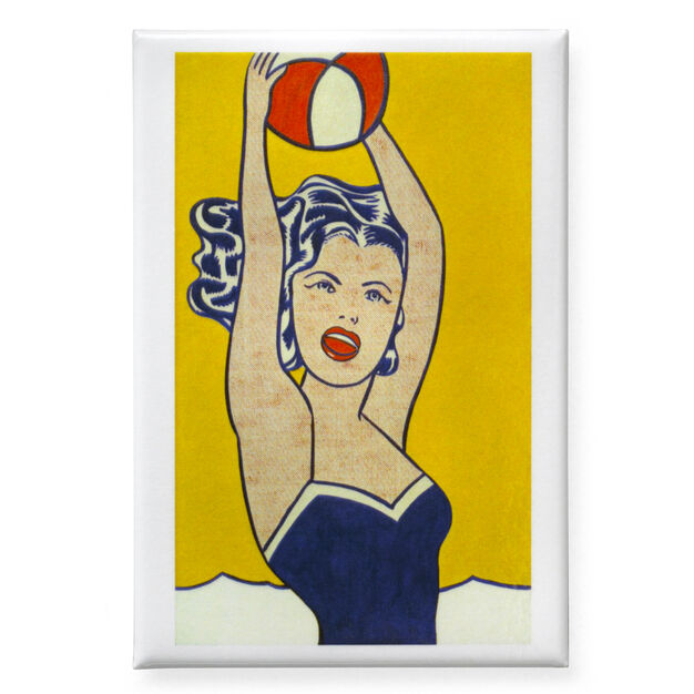 Lichtenstein: Girl with Ball Magnet in color