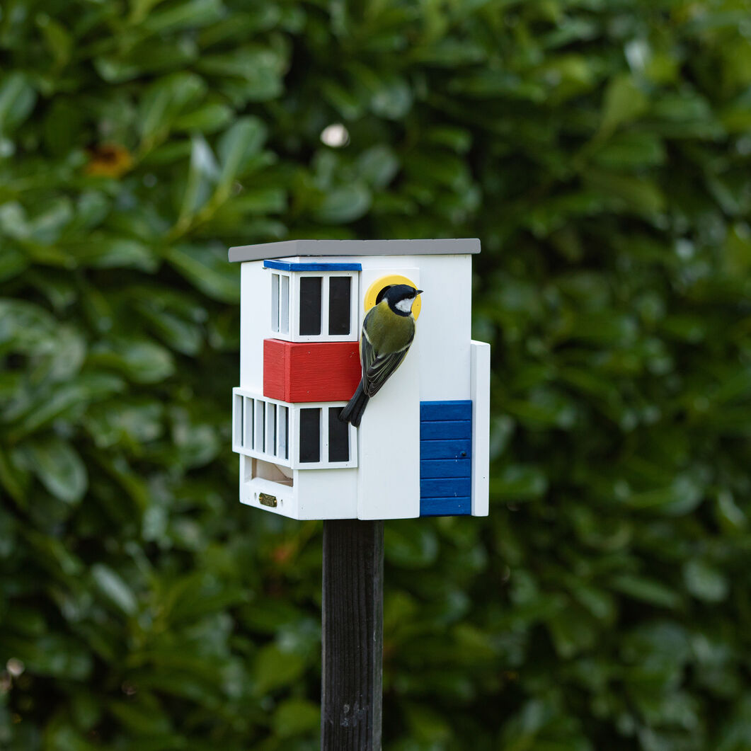 Wildlife Garden Birdhouse and Feeder in color Red/Blue