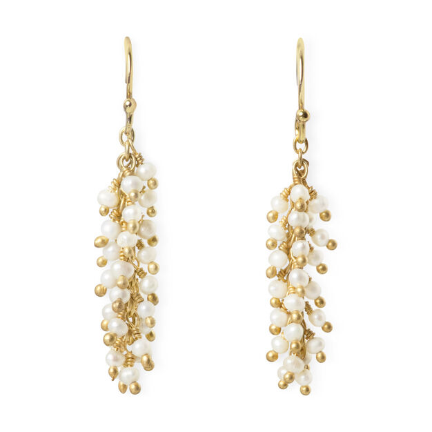Pearl And Gold Fringe Earrings Moma Design Store