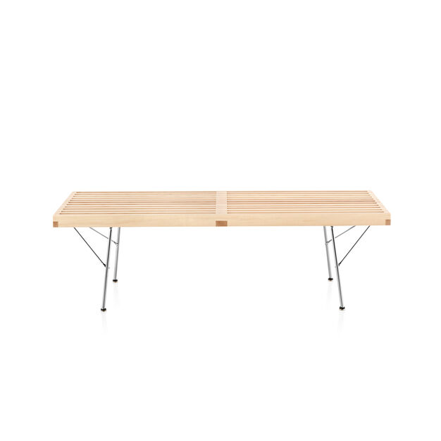"""Nelson™ Slatted Maple Bench - 48""""l in color Maple"""