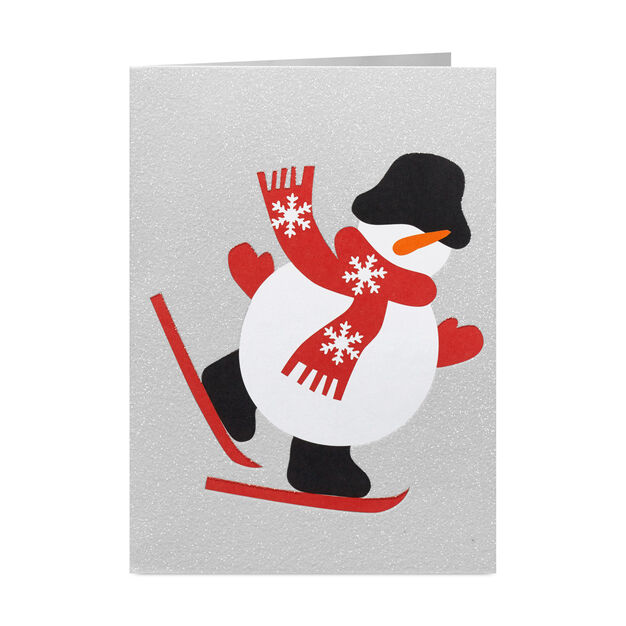 Skiing Snowman Holiday Cards (Box of 8) in color