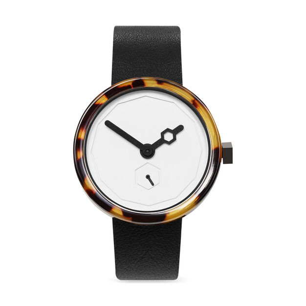 Tortoise Shell Watch White Face in color White
