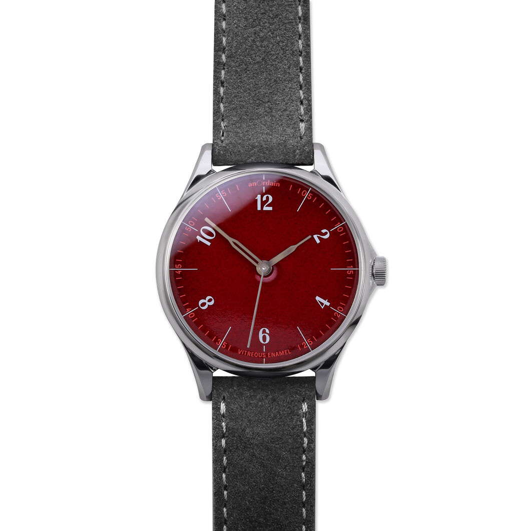 anOrdain Model 1 Watch - Post Office Red Dial in color Gray Suede