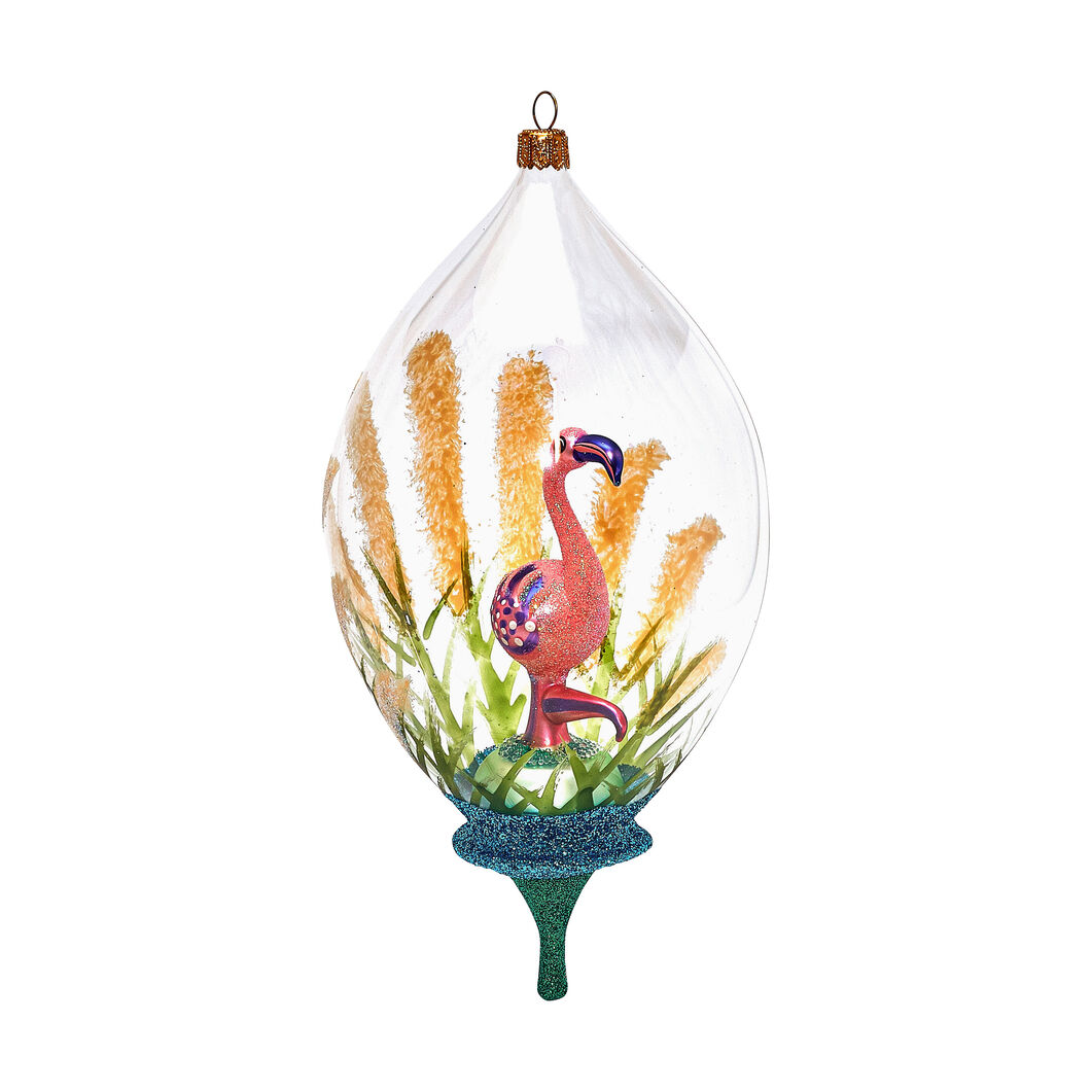 Glass Flamingo Globe Holiday Ornament in color