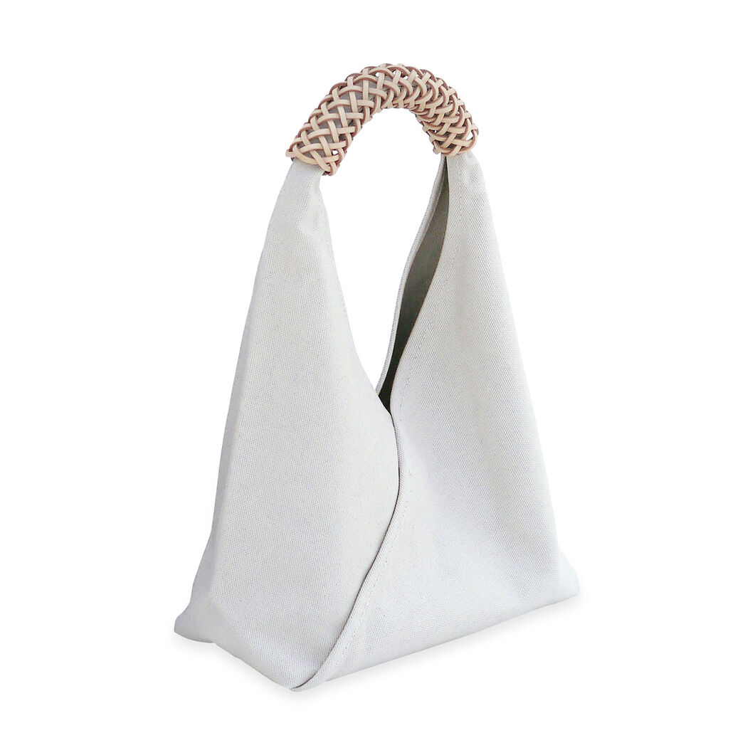 Small Woven Triangle Bag in color Ivory