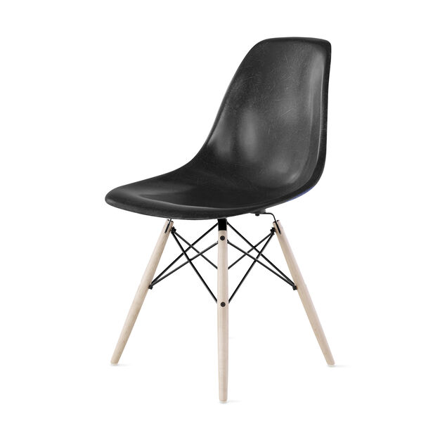 Eames® Molded Fiberglass Side Chair  Black in color
