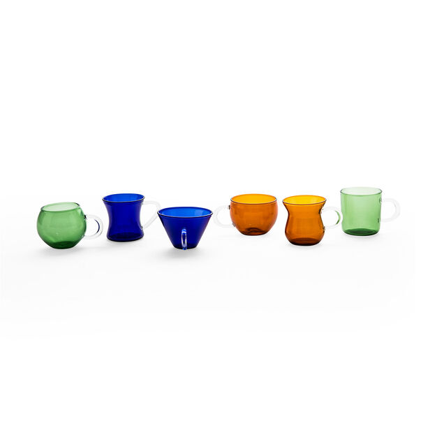 Borosilicate Glass Cups - Set of 6 in color Multi