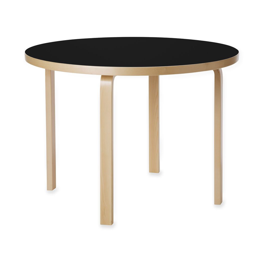 Artek Aalto Round Dining Table 90A in color Black