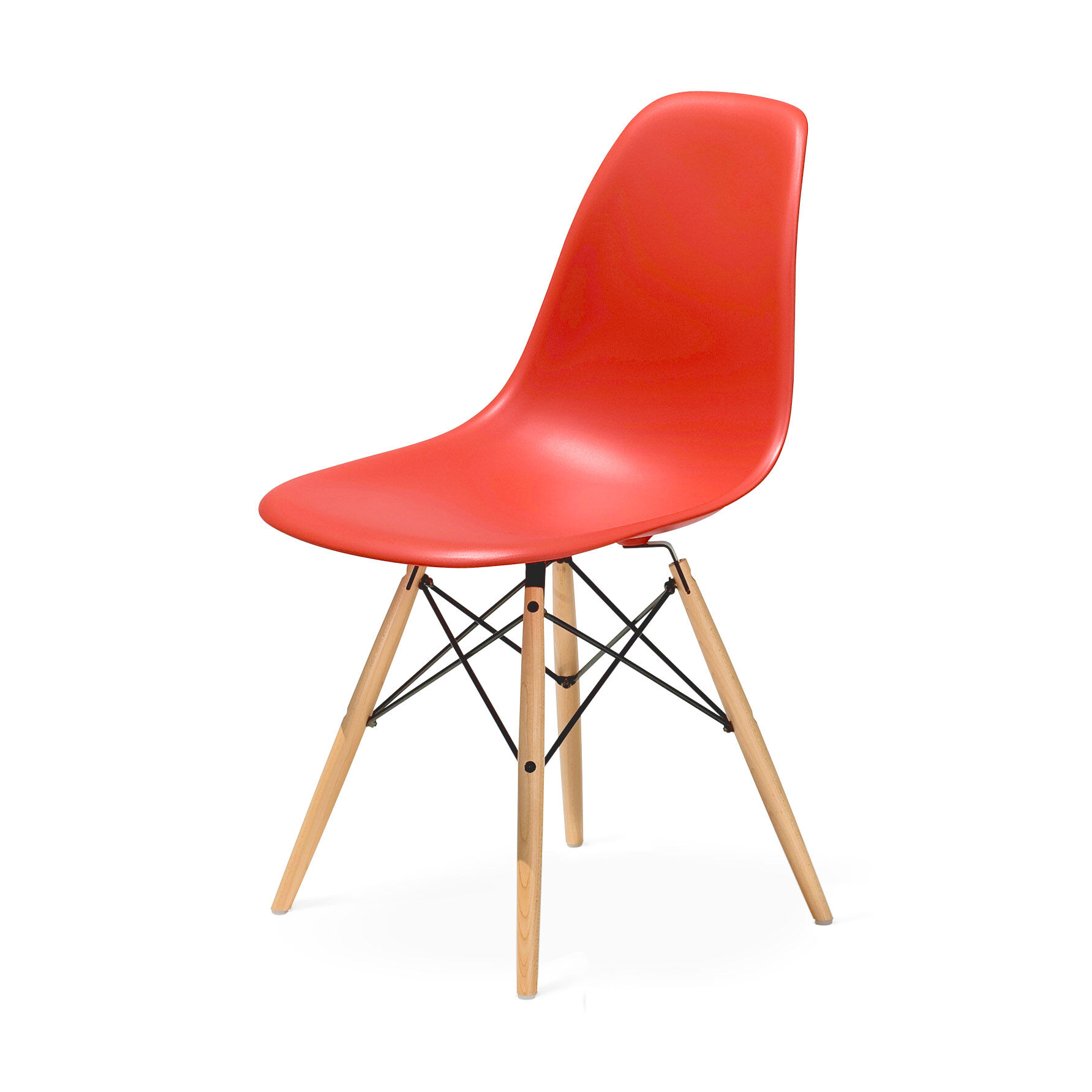 Eamesu0026reg; Molded Plastic Side Chair With Dowel In Color Red