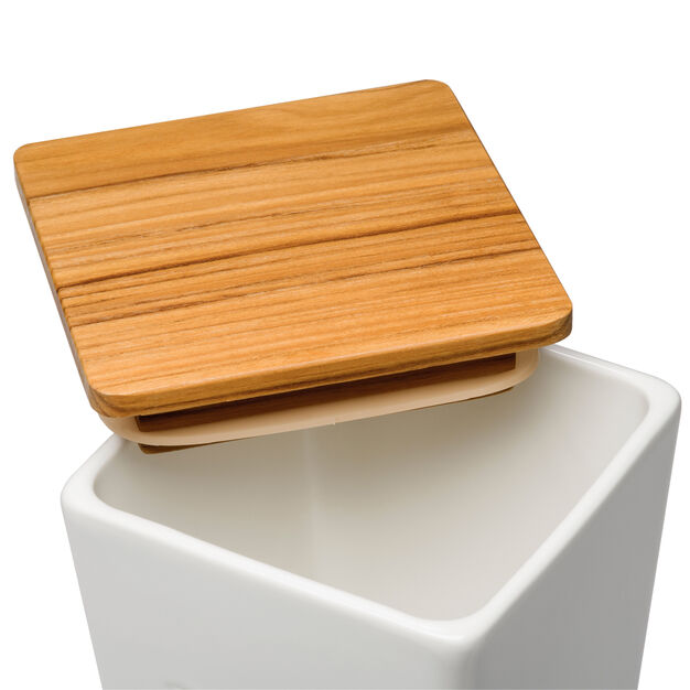 Lolo Porcelain and Teak Salt Container in color