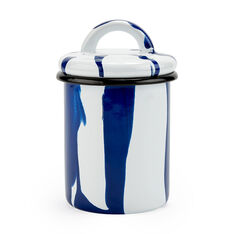 Striped Enamel  Blue Jars in color Blue/ White