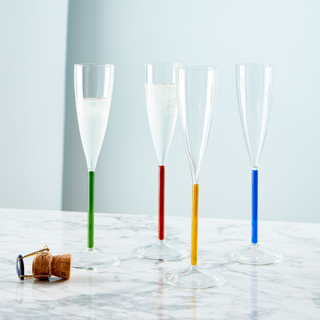 Color Accent Champagne Glasses Set in color Multicolor