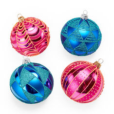 Turquoise and Pink Holiday Ornament Set in color