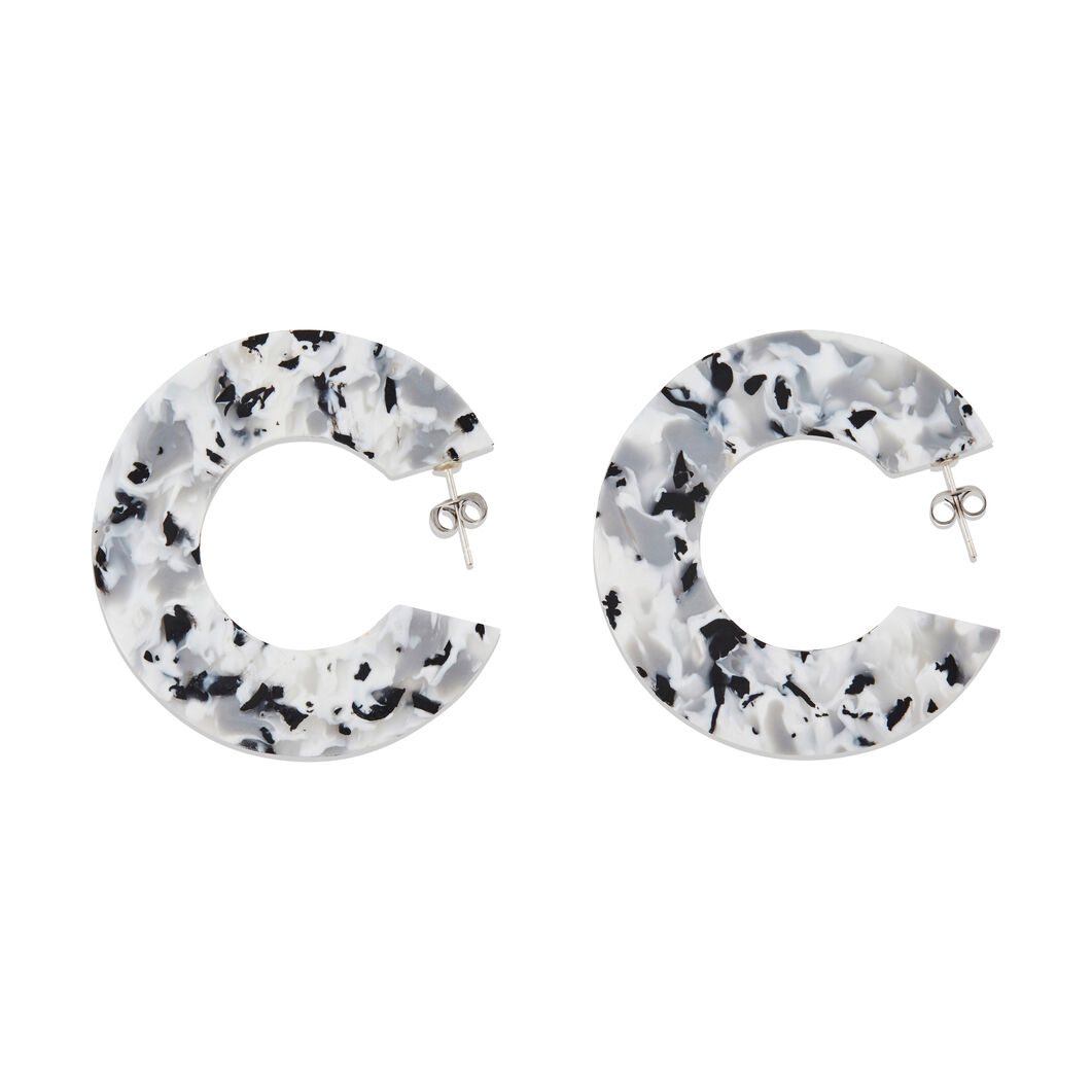 AYM Ananda 2 Hoop Recycled Plastic Earrings in color Black/ White
