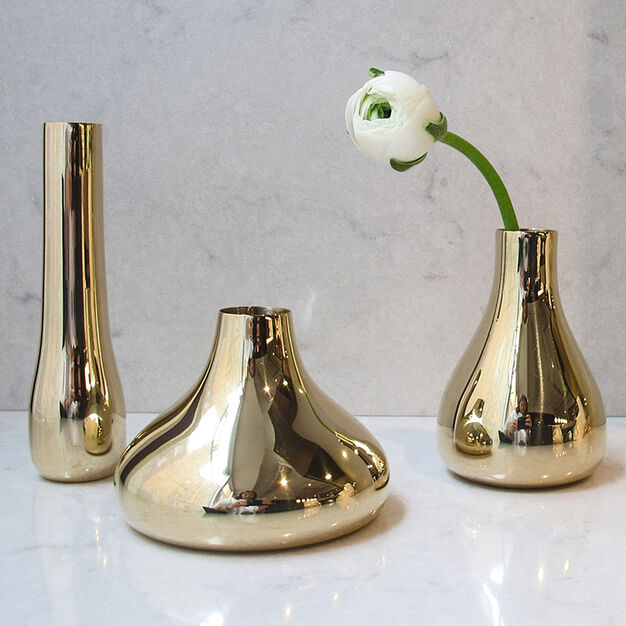 Bonbon Brass Bud Vase Set in color