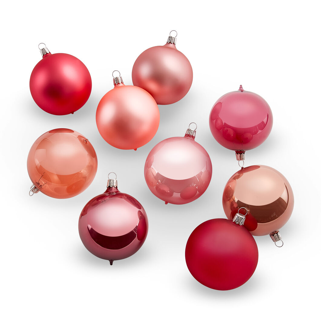 Pearlescent Glass Ball Ornament Set in color Pink