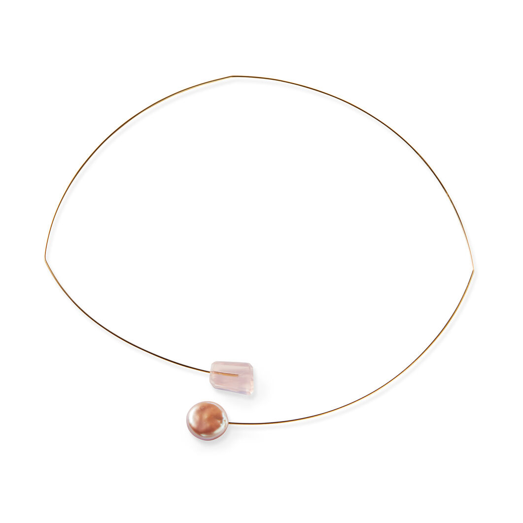 Pink Pearl Drop Necklace in color