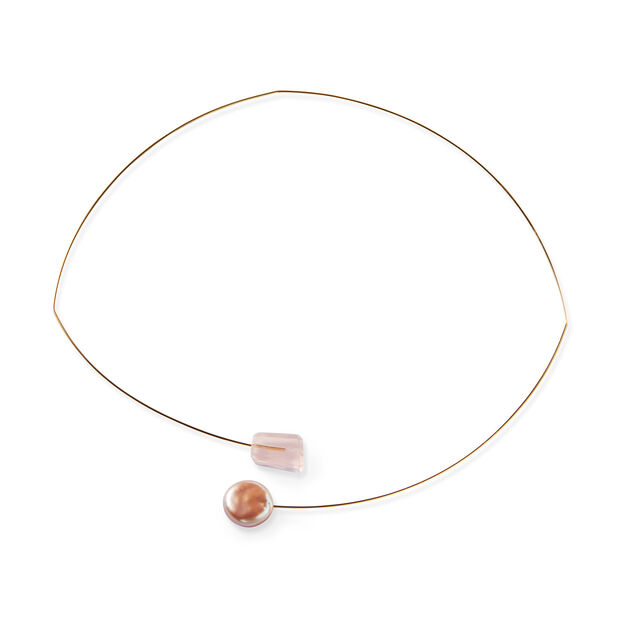Melissa McArthur Pink Pearl Drop Necklace in color