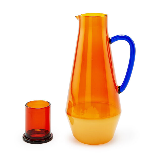 Two-Tone Glass Carafe in color Amber/ Blue