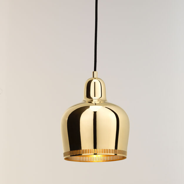 Artek Aalto Golden Bell A330S Pendant Light in color Brass Savoy