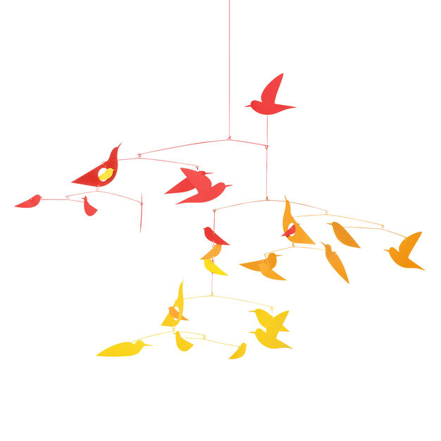 Birds in Harmony Mobile in color Yellow/ Orange