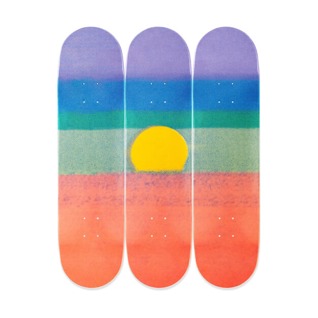 Andy Warhol Sunset Triptych Skateboards in color Orange