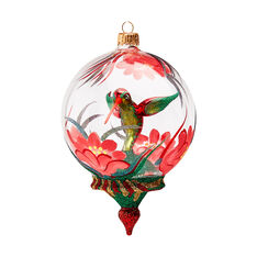 Glittering Hummingbird Globe Ornament in color