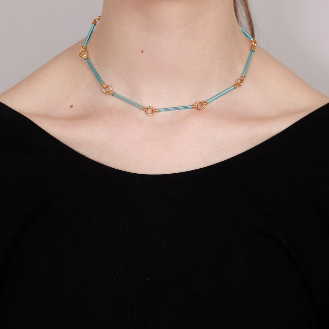 Neon Blue Necklace in color