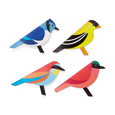 Modern Birds Pop-Up Note Cards - Set of 8 in color