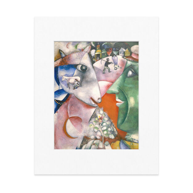 Chagall: I And The Village Matted Print in color