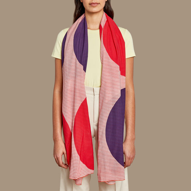 Huge Dots Scarf in color Pink/ Purple