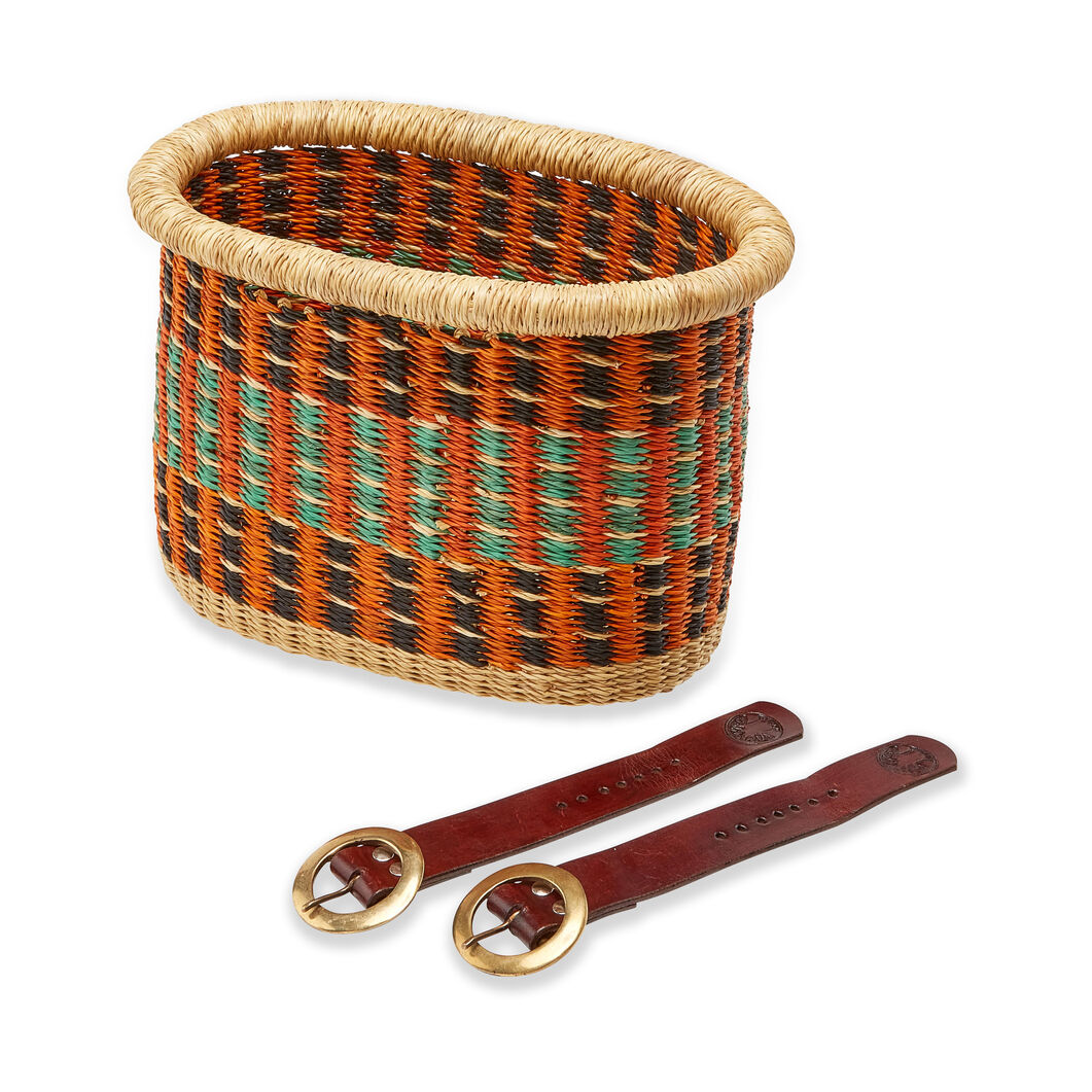 Baba Tree Handwoven Bike Basket in color Orange Multi