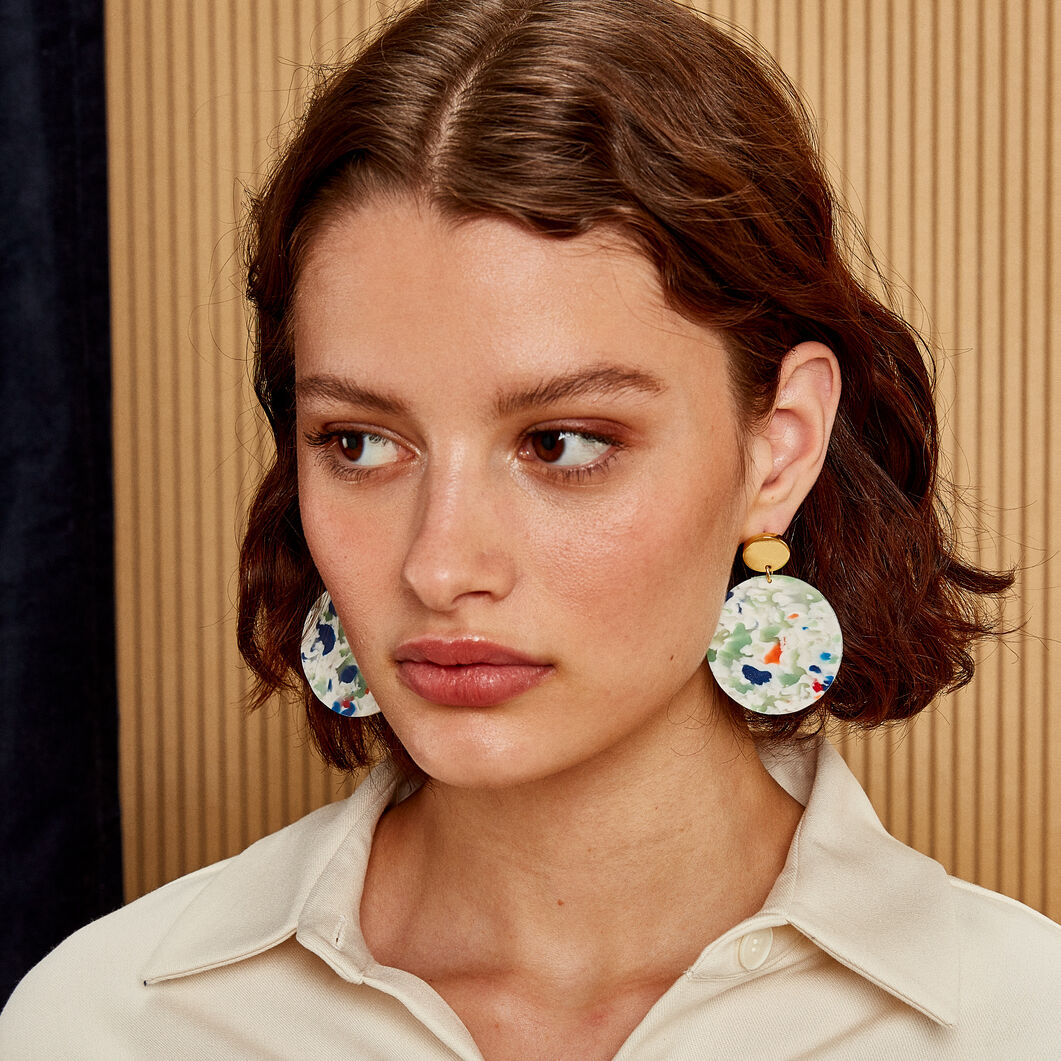 AYM Ellen Recycled Plastic Earrings in color Confetti