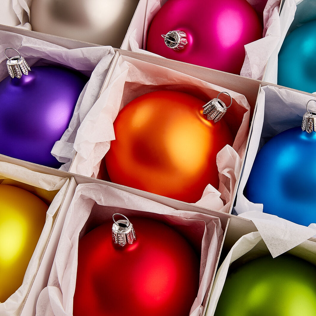 Pearlescent Glass Ball Ornament Set in color Rainbow