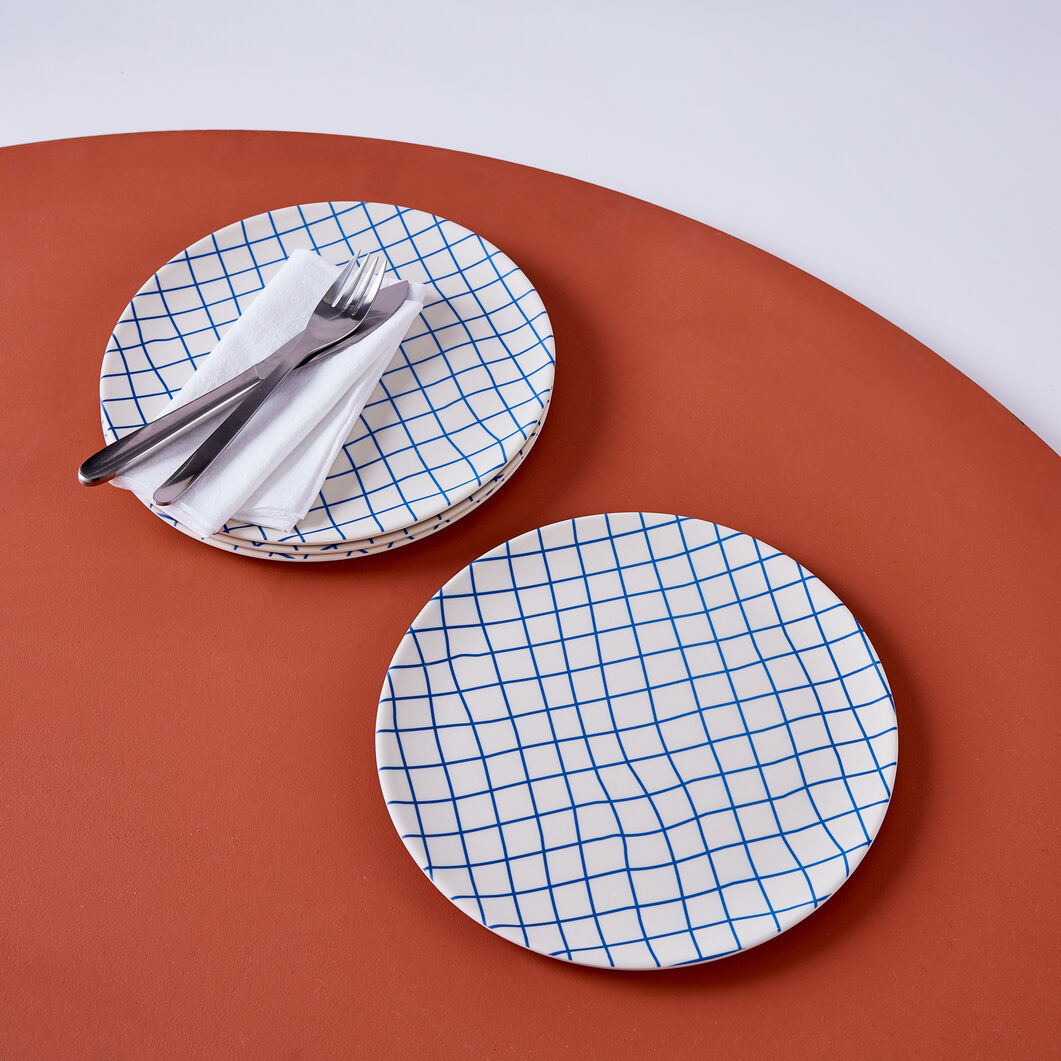 Poketo Bamboo Grid Dinner Plates - Set of 4 in color