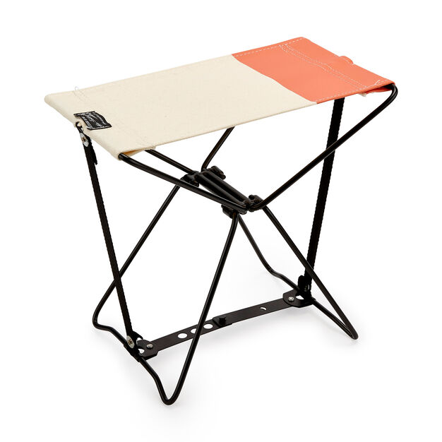 Mini Folding Stool in color Natural/ Orange