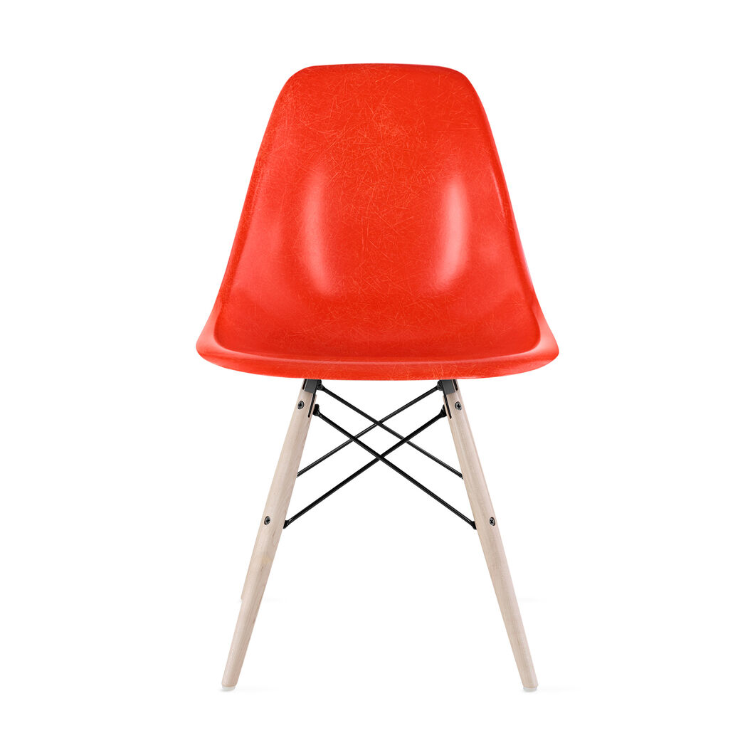 Eames®Molded Fiberglass Side Chair  Red in color