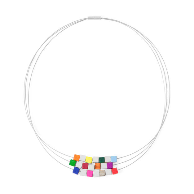 Multicolor Three-Strand Cube Necklace in color