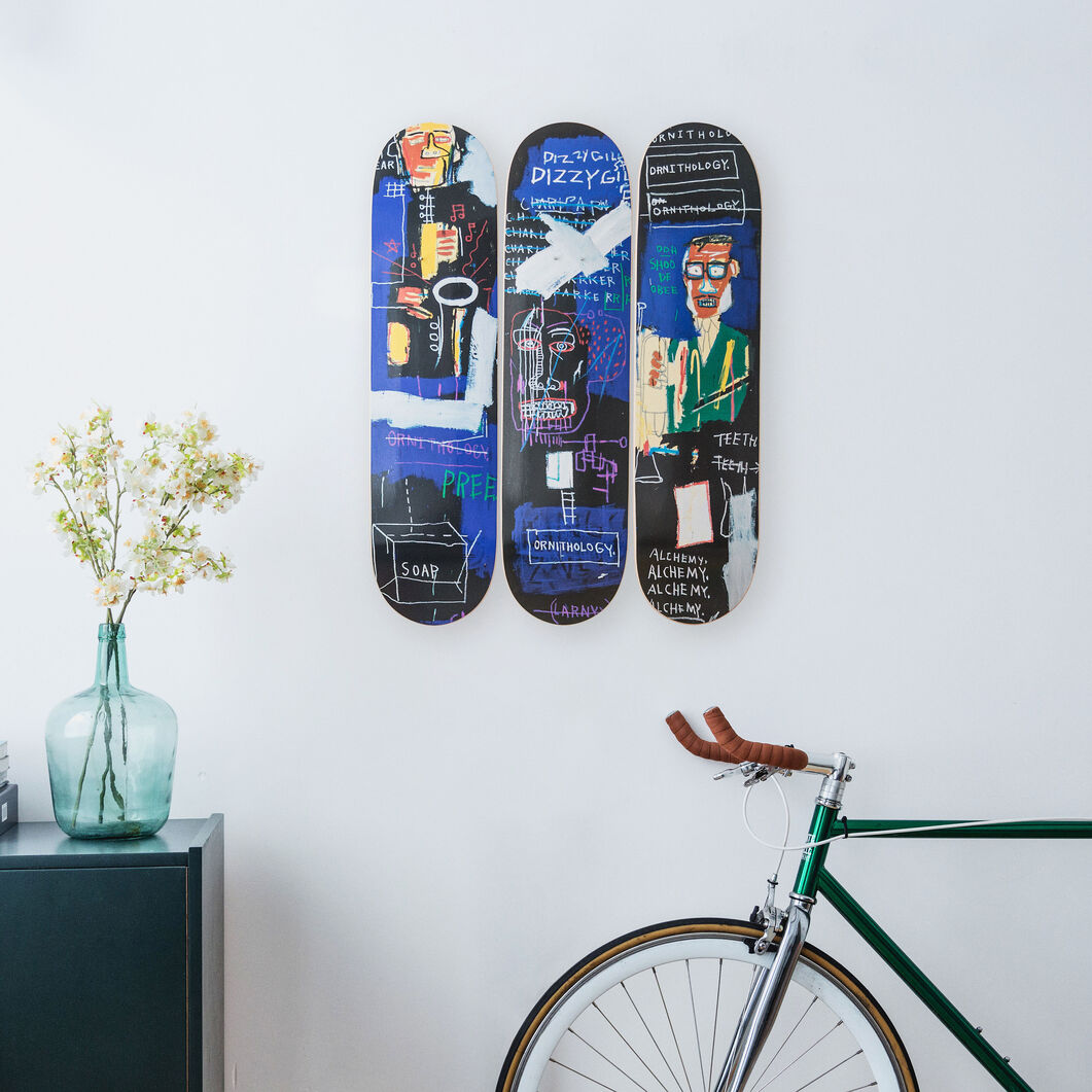 Basquiat Horn Players Triptych Skateboards in color