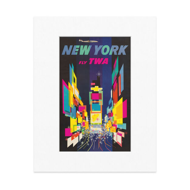 Klein: New York Fly TWA Matted Print in color
